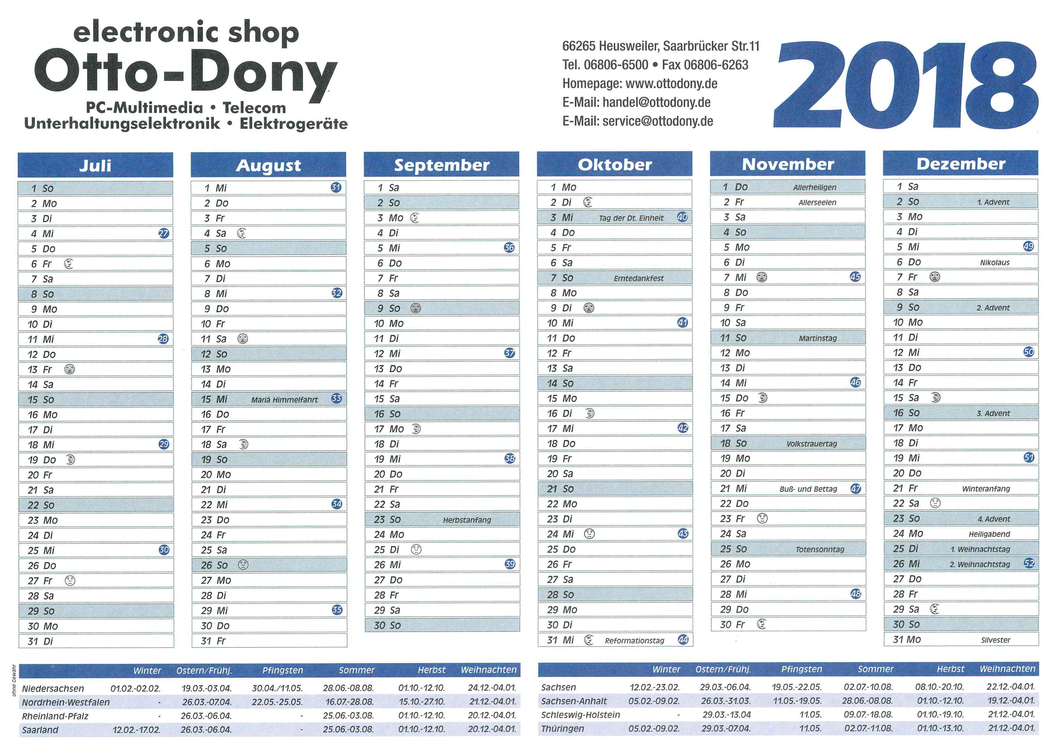 Kalender Juli bis Dezember